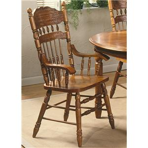 Liberty Furniture Old World Casual Dining Embossed Back Arm Chair