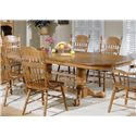 Liberty Furniture Old World Casual Dining Embossed Back Arm Chair with Turned Legs - Shown with Double Pedestal Table and Side Chairs