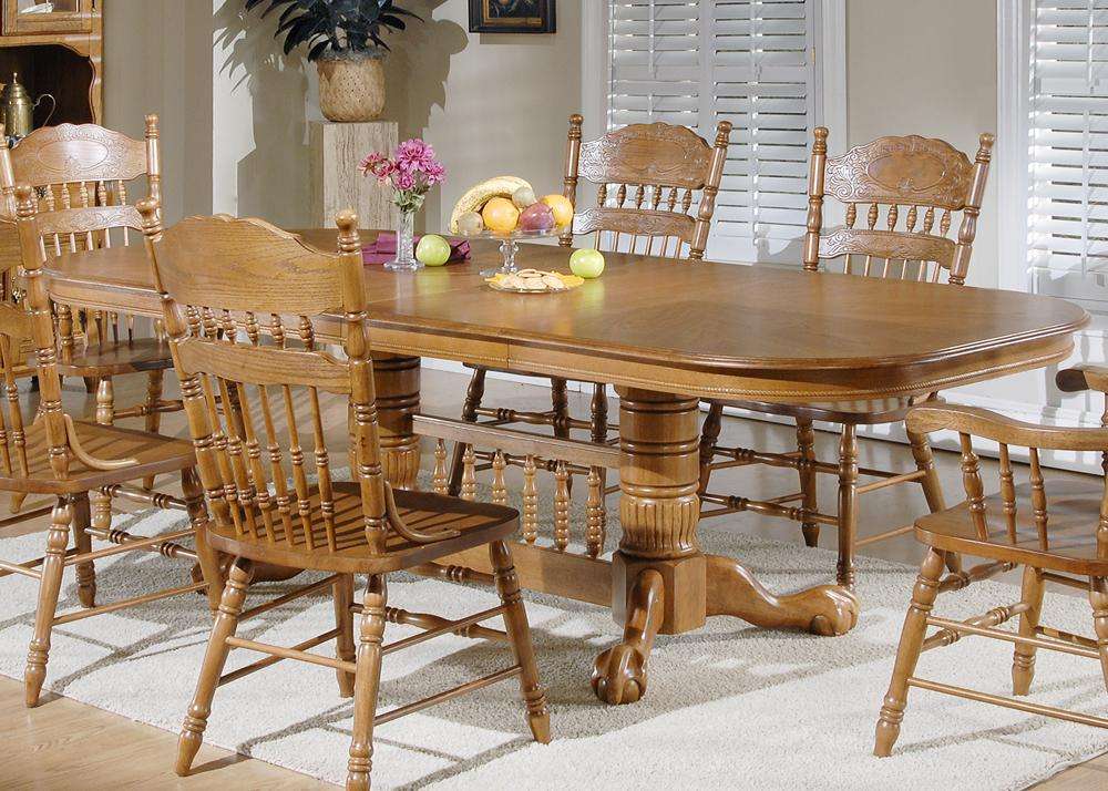 Liberty Furniture Old World Casual Dining 7 Pc. Double Pedestal Table & Chair Set - Item Number: 18-P570+T570+2xC564A+4x563S