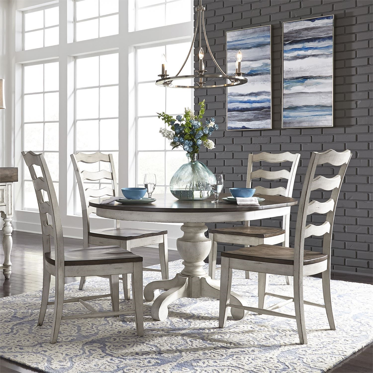 Parisian Marketplace 5-Piece Pedestal Table Set by Liberty Furniture at Johnny Janosik