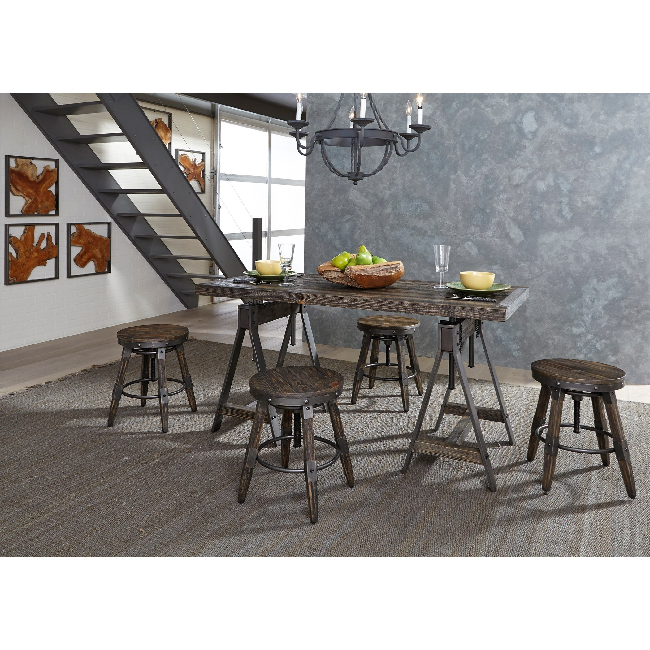 Adjustable Height Table and Stool Set