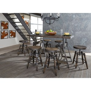 Liberty Furniture Pineville Adjustable Height Table and Stool Set
