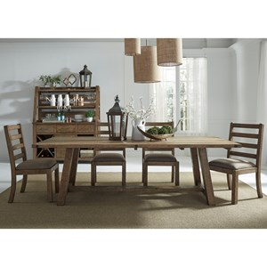 "Liberty Furniture Prescott Valley 5-Piece 96"" Trestle Table Set"