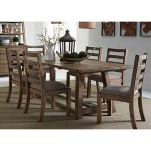 "Liberty Furniture Prescott Valley 7-Piece 96"" Trestle Table Set"