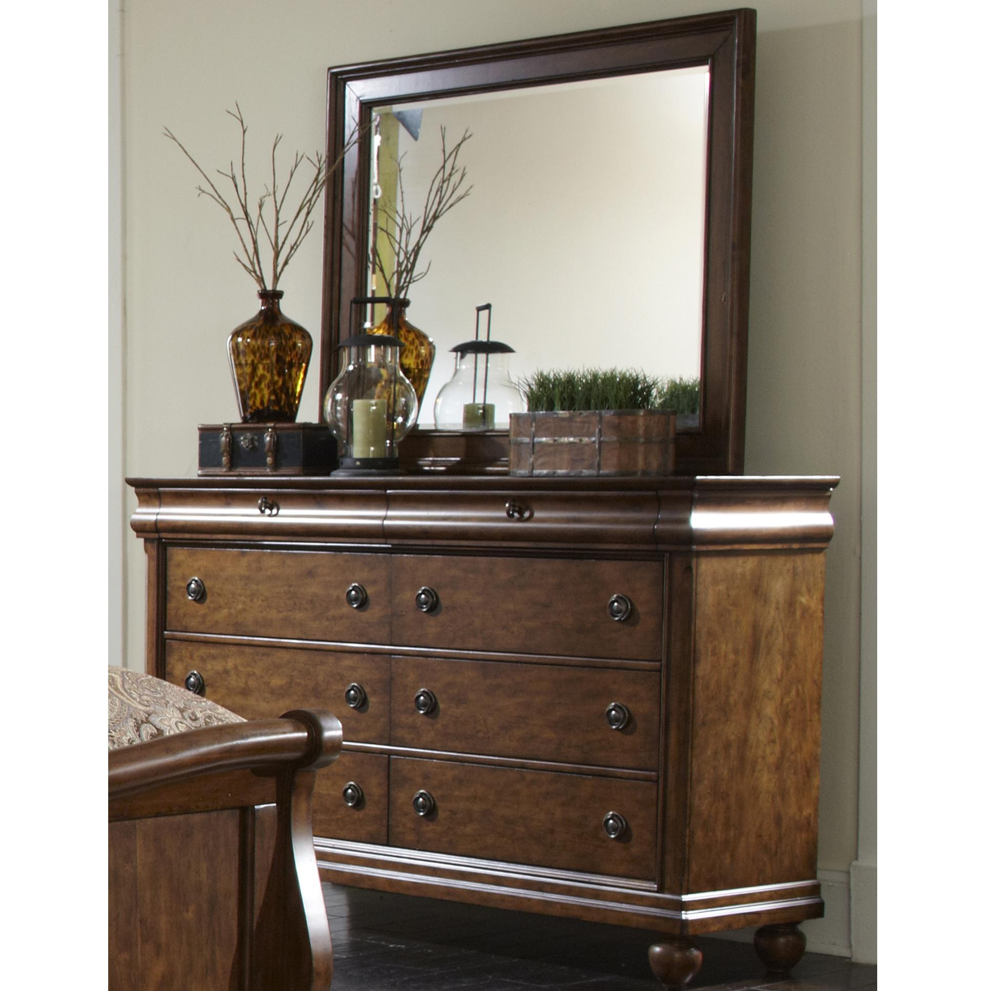Liberty Furniture Rustic Traditions Dresser and Mirror - Item Number: 589-BR-DM