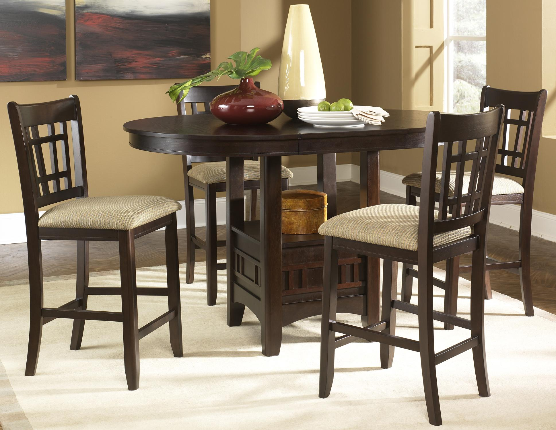 Santa Rosa Oval Pub Table & 24 Inch Upholstered Bar Stool Set ...
