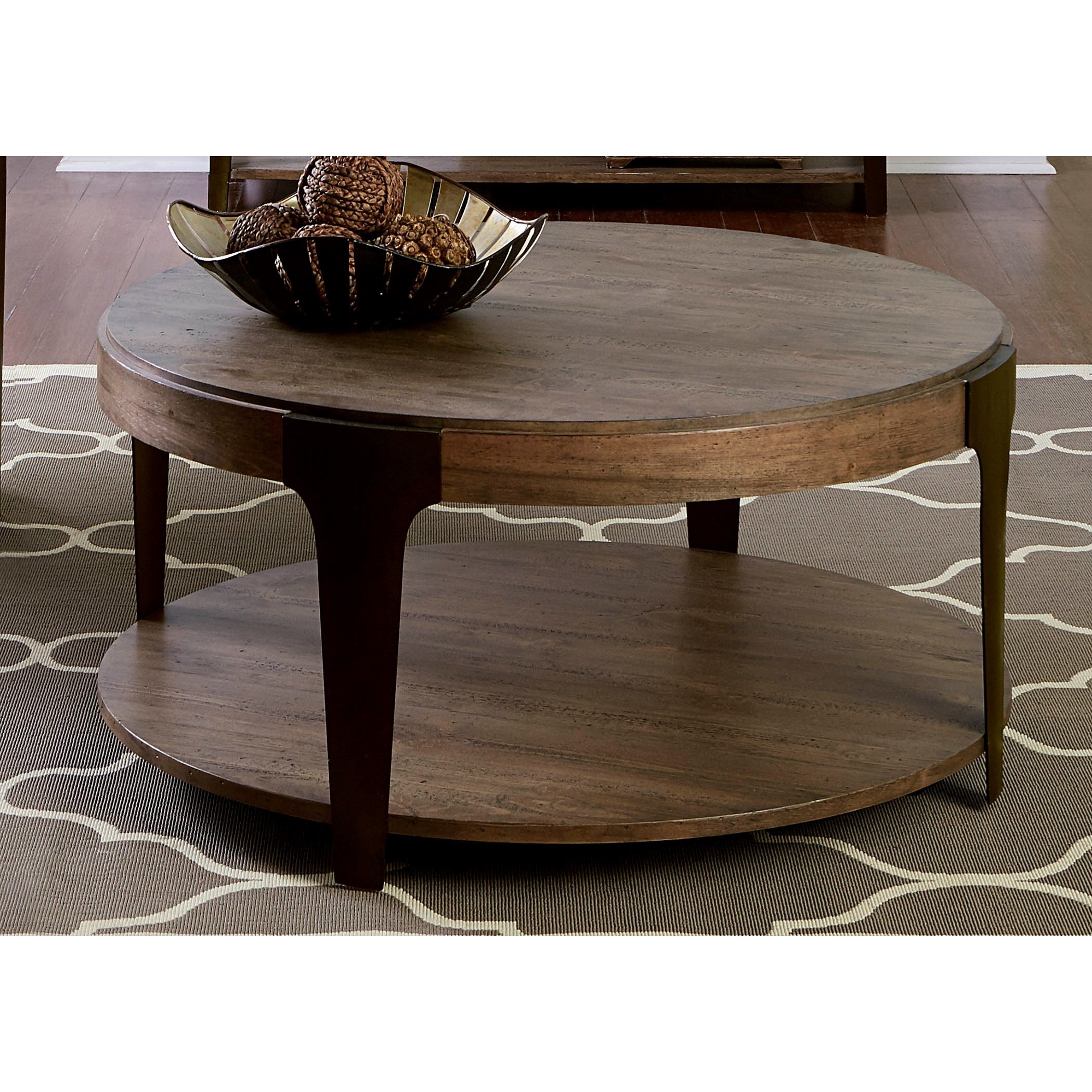 Canyon Creek Round Cocktail Table With Shelf Rotmans Cocktail Coffee Tables Worcester