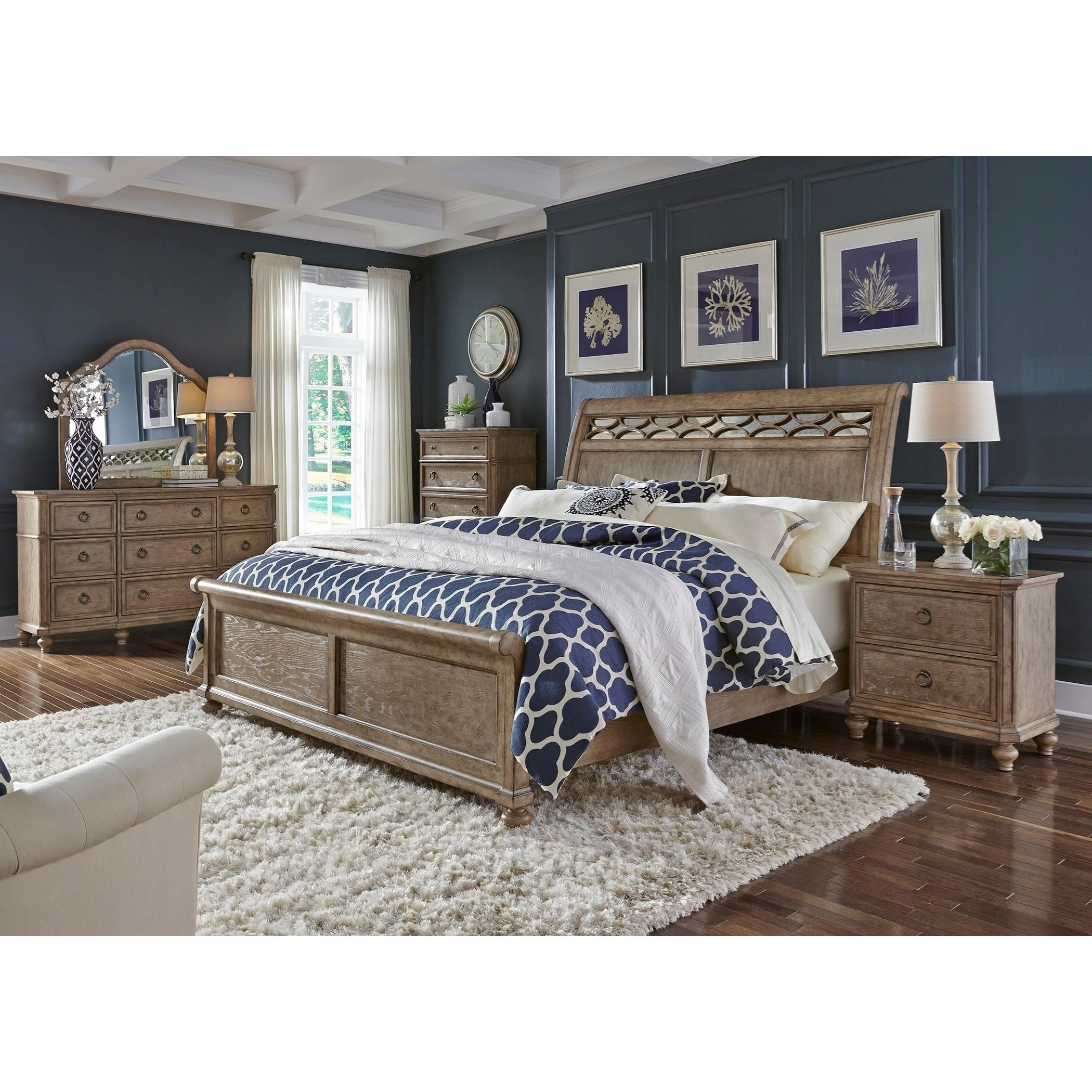 Liberty Furniture Simply Elegant King Sleigh Bed With Mirror Accent Headboard Royal Furniture