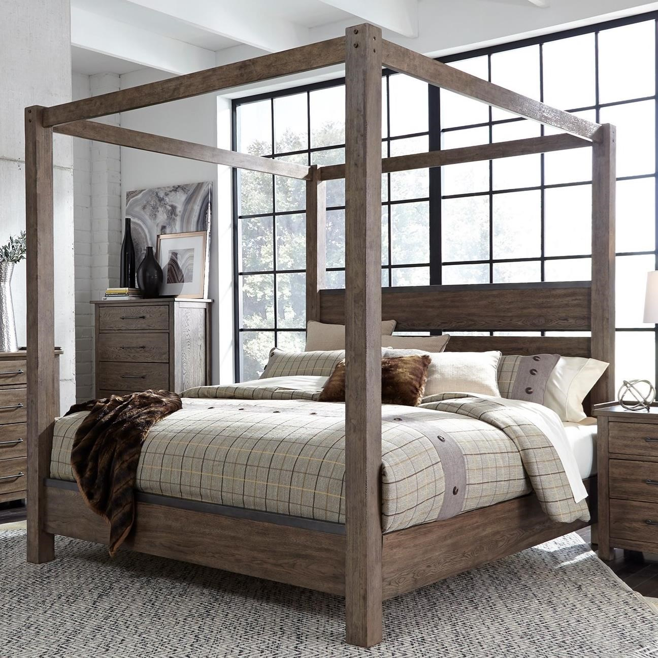 Liberty Furniture Sonoma Road Contemporary King Canopy Bed with ...