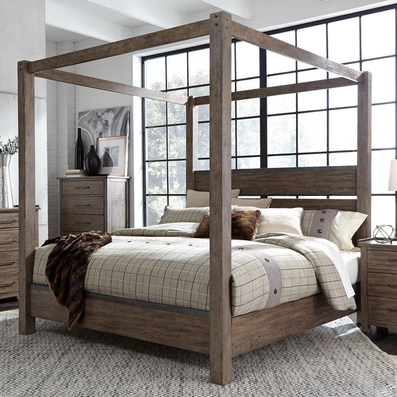 - Liberty Furniture Sonoma Road Contemporary Queen Canopy Bed With