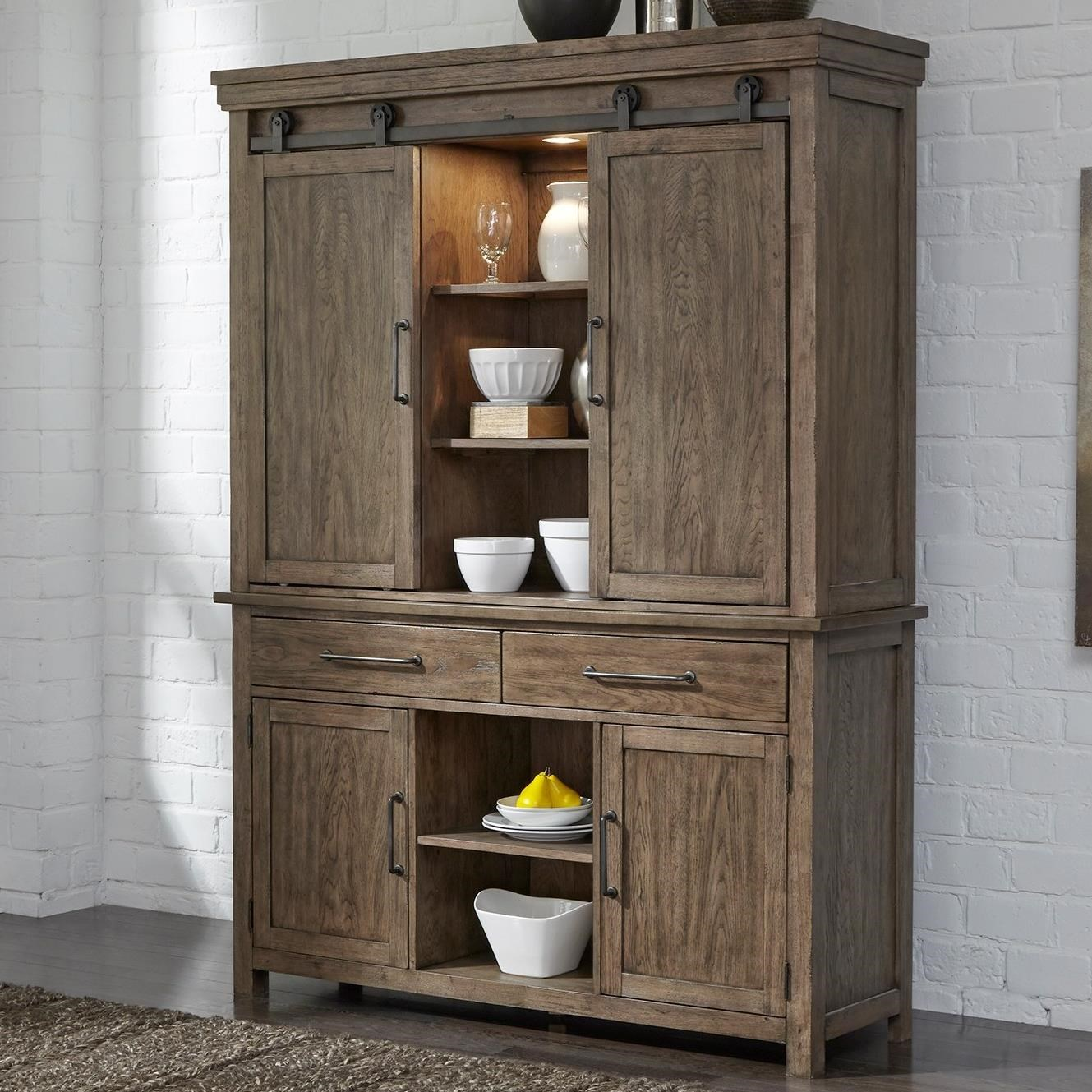 Liberty Furniture Sonoma Road Contemporary Hutch & Buffet with LED ...