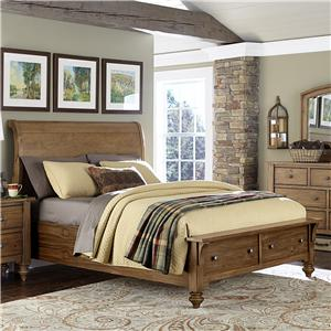 Vendor 5349 Southern Pines Queen Size Sleigh Bed with Storage