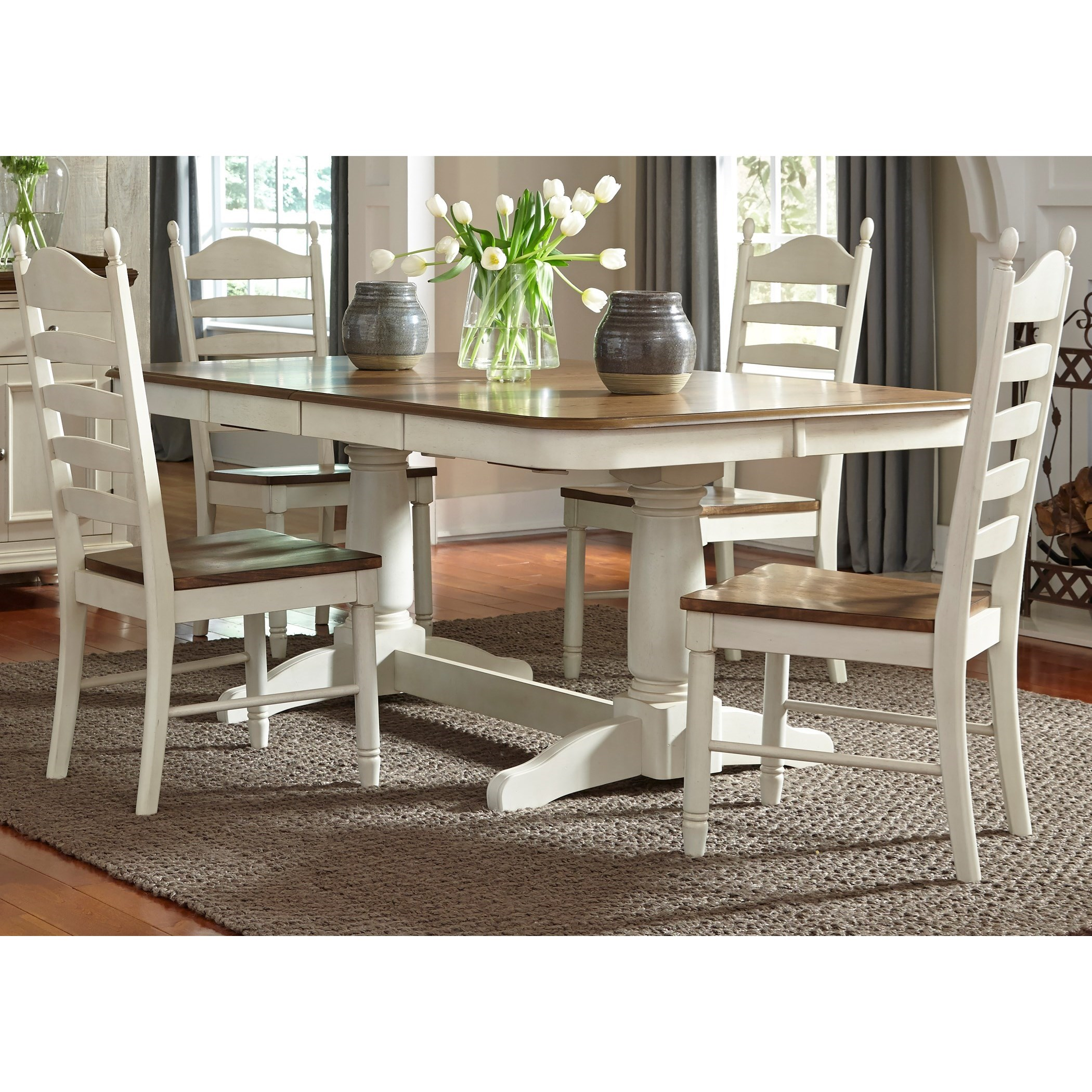 5 Piece Double Pedestal Table & Chair Set