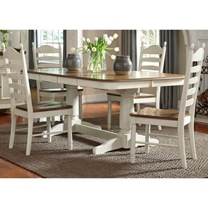 Liberty Furniture Springfield Dining 5 Piece Double Pedestal Table & Chair Set