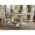 Liberty Furniture Springfield Dining 5 Piece Double Pedestal Table & Chair Set - Item Number: 278-CD-52PS