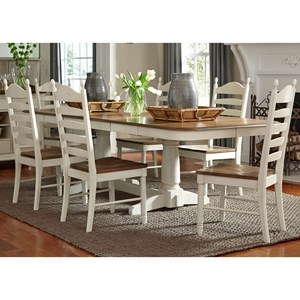 Vendor 5349 Springfield Dining 7 Piece Double Pedestal Table & Chair Set
