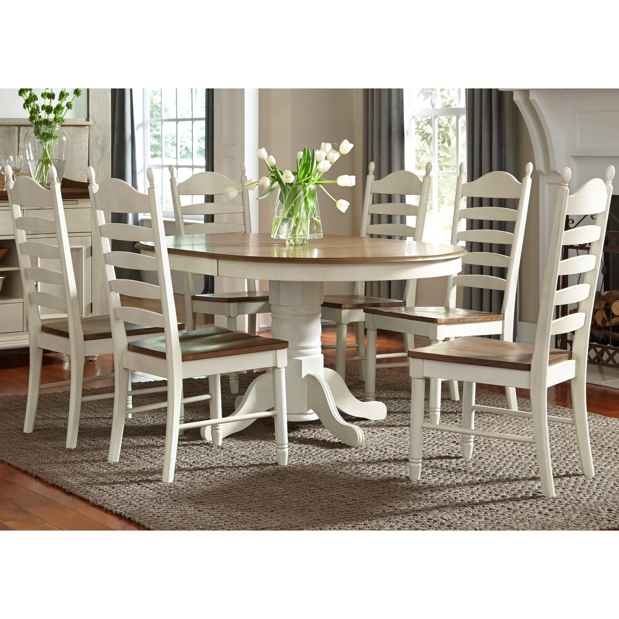 Liberty Furniture Springfield Dining 7 Piece Pedestal Table & Chair Set - Item Number: 278-CD-7PDS