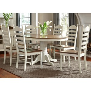Vendor 5349 Springfield Dining 7 Piece Pedestal Table & Chair Set