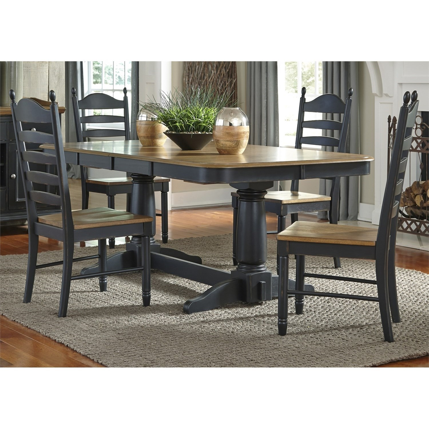 Liberty Furniture Springfield II Dining 5 Piece Double Pedestal Table & Chair Set - Item Number: 678-CD-52PS