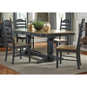 Liberty Furniture Springfield II Dining 5 Piece Double Pedestal Table Chair Set