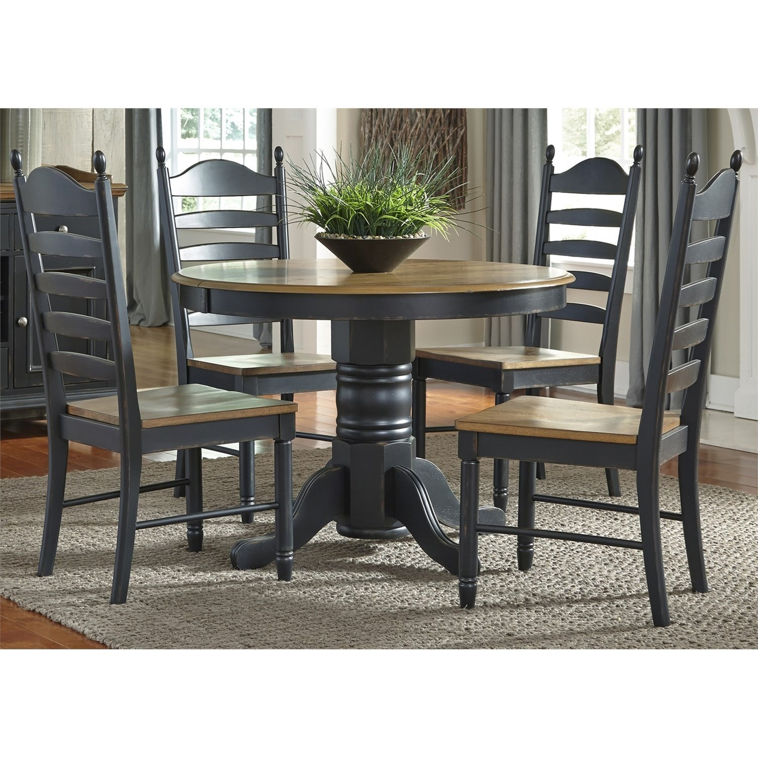 Liberty Furniture Springfield Ii Dining 5 Piece Pedestal Table Chair Set Wayside Furniture