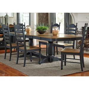 Liberty Furniture Springfield II Dining 7 Piece Double Pedestal Table & Chair Set