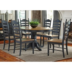 Liberty Furniture Springfield II Dining 7 Piece Pedestal Table & Chair Set