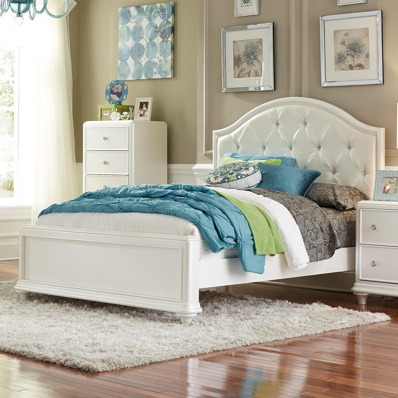 Stardust Glam Twin Panel Bed With Upholstered Headboard By