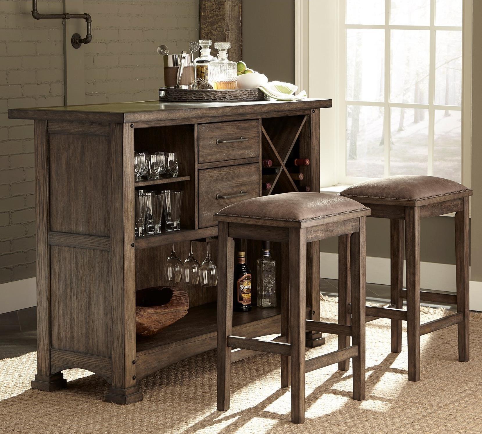 Liberty Furniture Stone Brook 3 Piece Bar and Stool Set - Item Number: 466-DR-3BAR