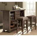 Vendor 5349 Stone Brook 3 Piece Bar and Stool Set - Item Number: 466-DR-3BAR
