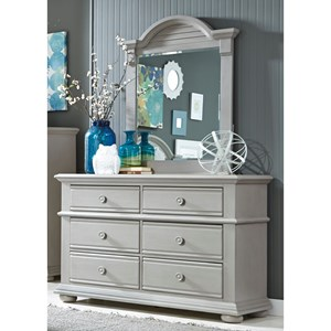 Vendor 5349 Sumer House Youth 6 Drawer Dresser & Mirror