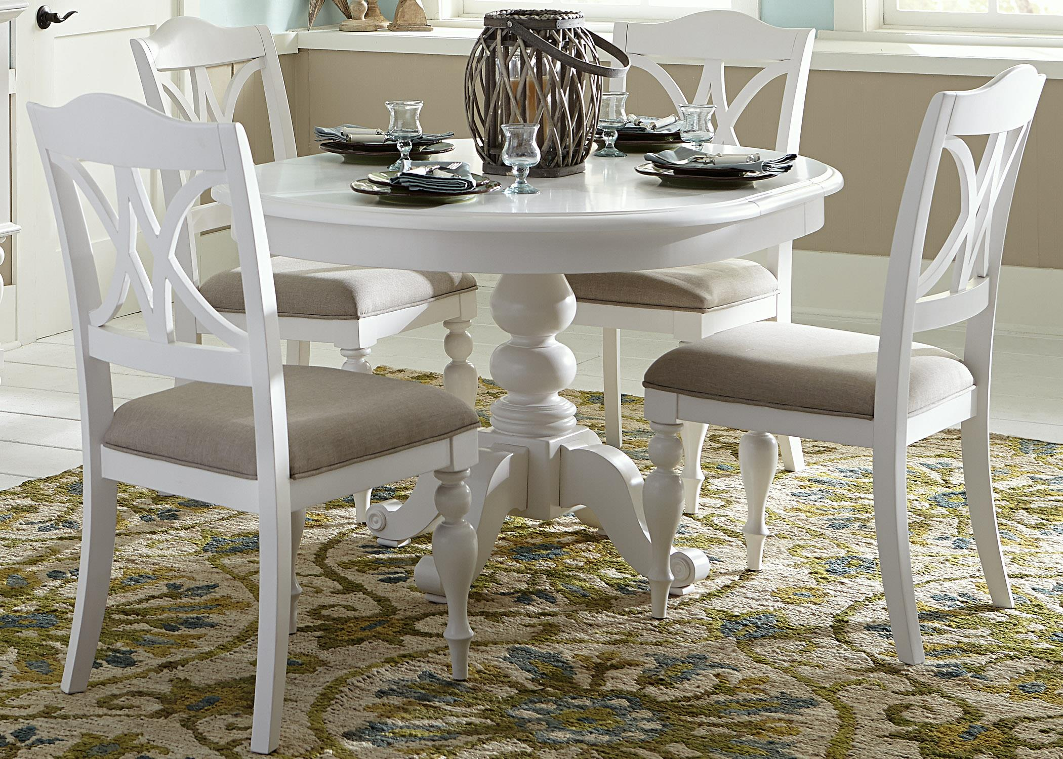 Liberty Furniture Summer House I Round Pedestal Table - Item Number 607-T4254+ & Liberty Furniture Summer House I Round Table with Turned Pedestal ...