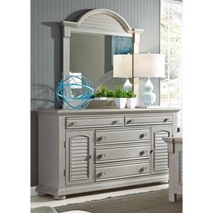 Liberty Furniture Summer House II 5 Drawer Dresser & Mirror