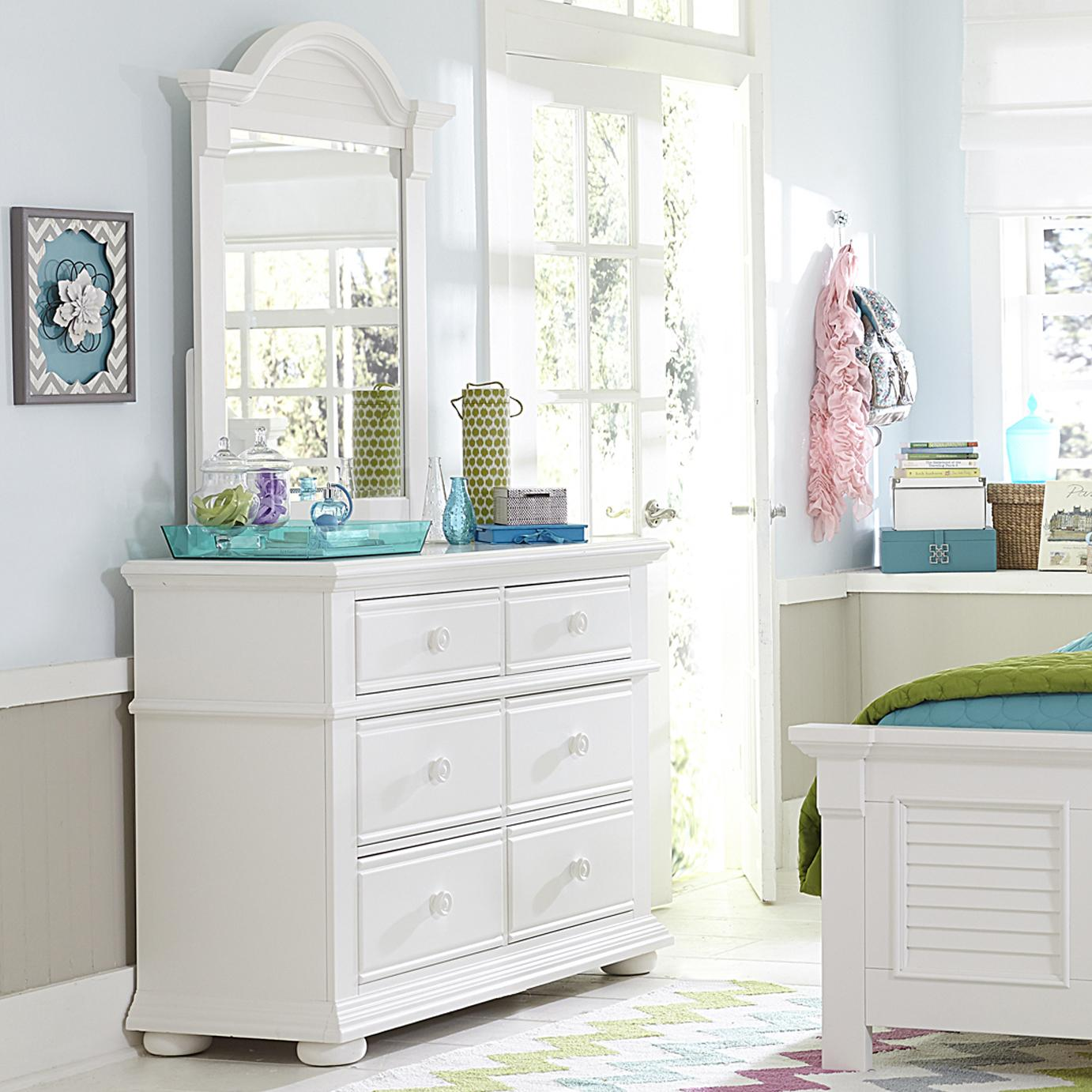 Liberty Furniture Summer House Media Chest and Small Mirror - Item Number: 607-BR-ODM