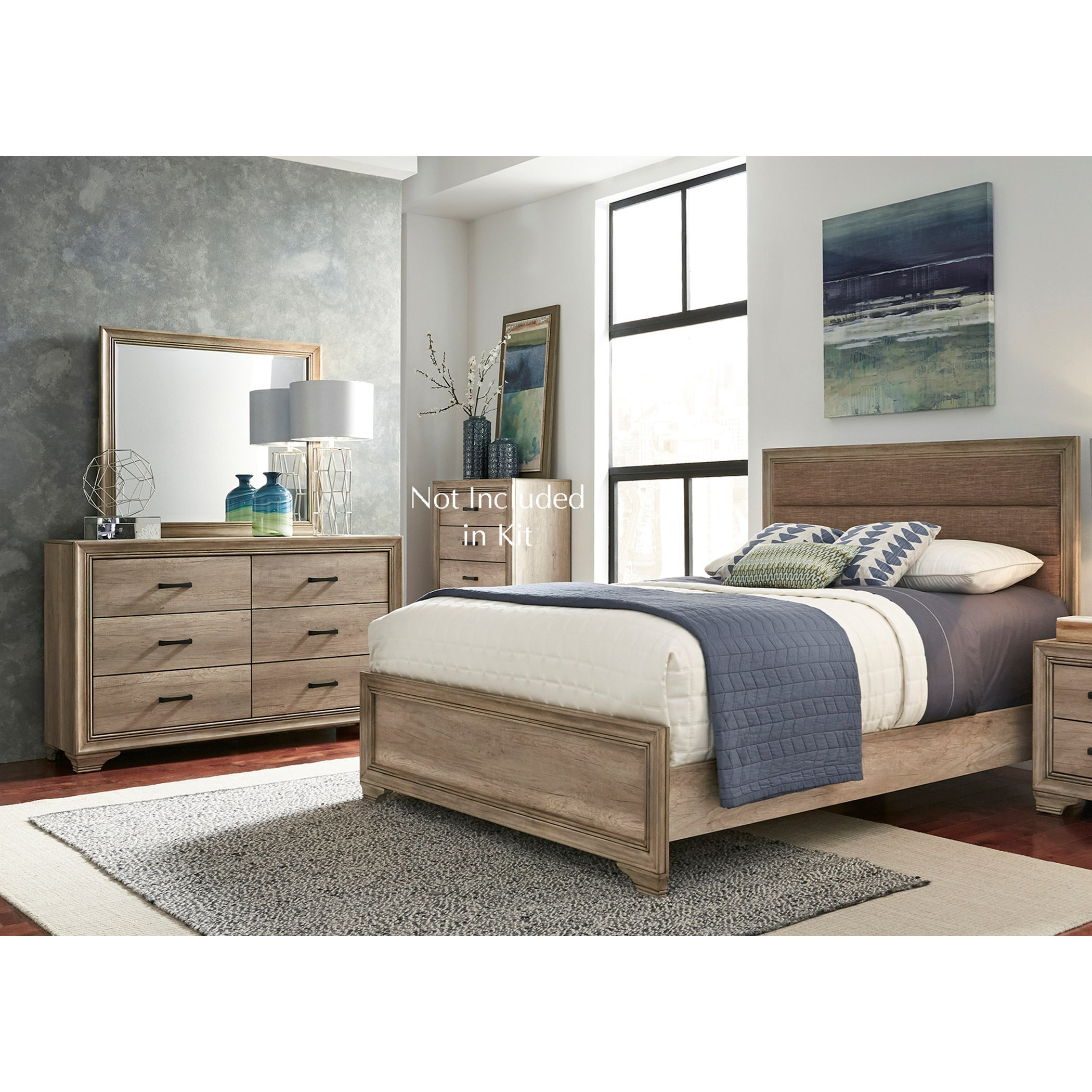 Liberty Furniture Sun Valley 439 Twin Uph Bed, Dresser & Mirror  - Item Number: 439-BR-TUBDM