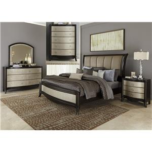 Vendor 5349 Sunset Boulevard Queen Sleigh Bed, Dresser & Mirror, Chest, N