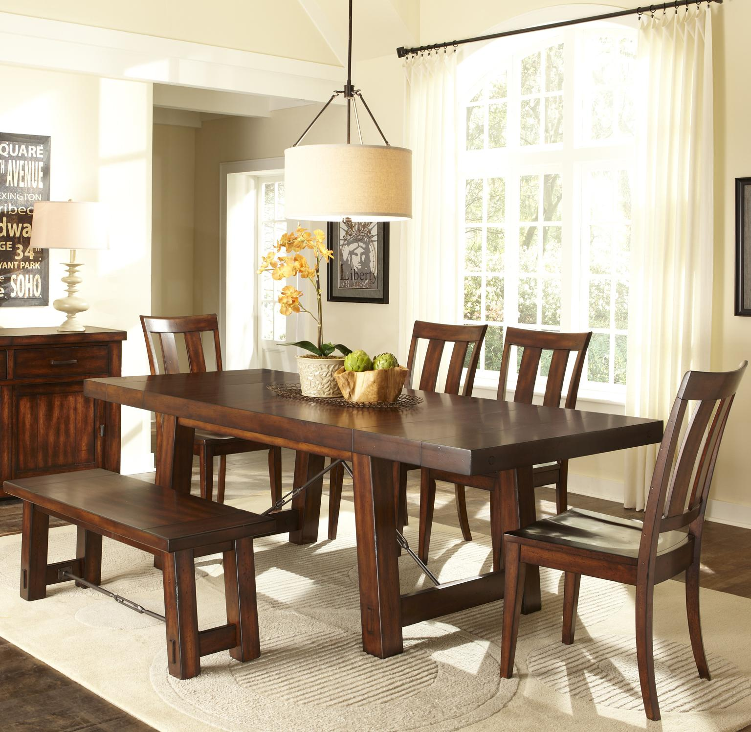 Liberty Furniture Tahoe 6 Piece Dining Table And Slat Back Chair Set With Backless Dining Bench