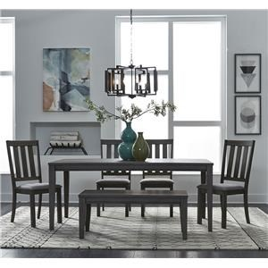 6PC Dining Table, Chairs & Bench Set