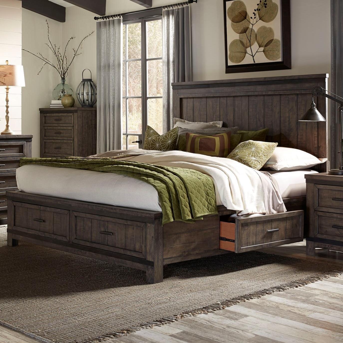 Liberty Furniture Thornwood Hills Queen Two Sided Storage Bed - Item Number: 759-BR-Q2S