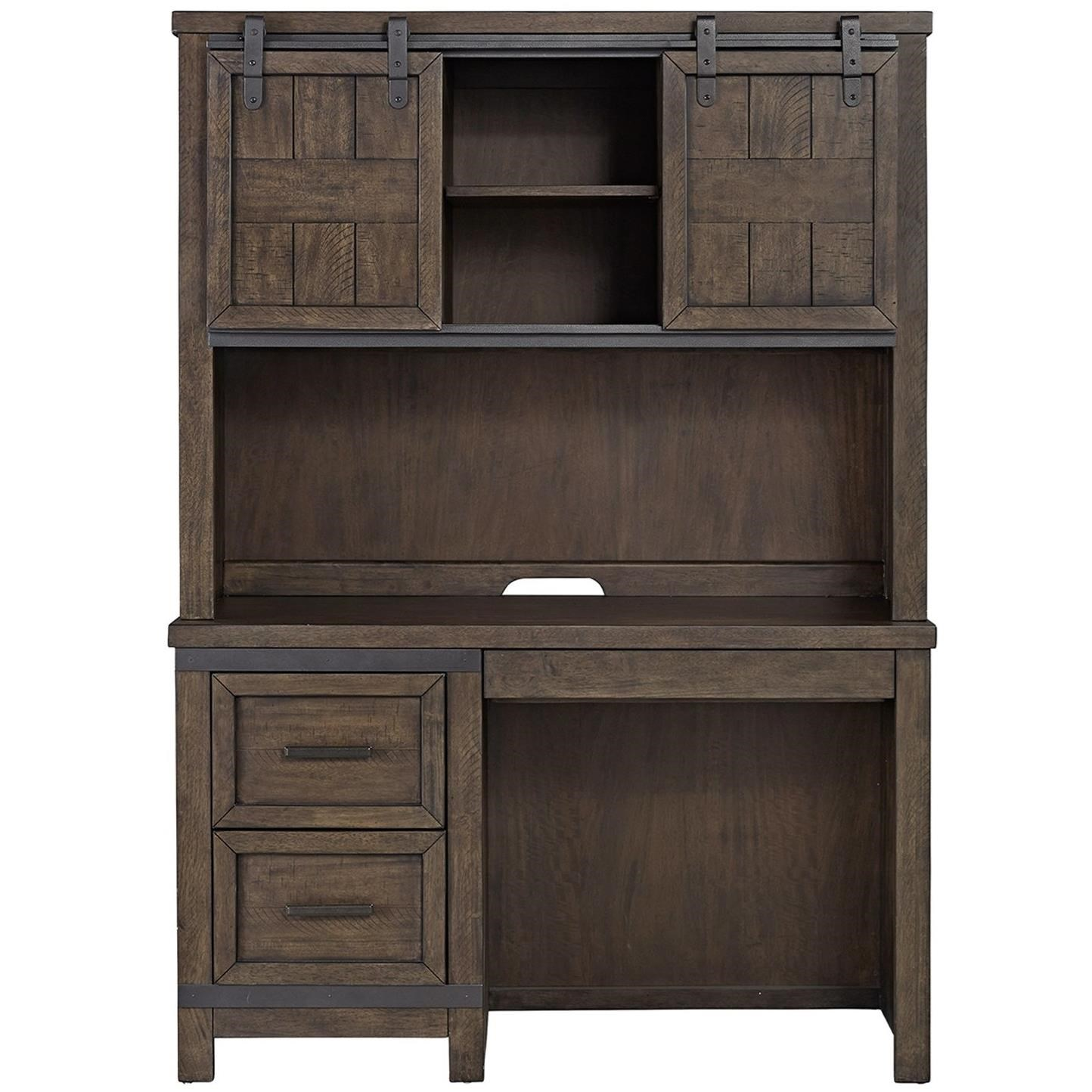 Liberty Furniture Thornwood Hills Rustic Student Desk With Double Barn Door Hutch
