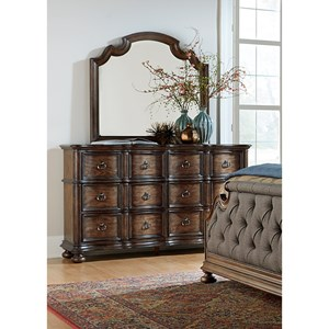 Vendor 5349 Tuscan Valley 6 Drawer Dresser and Mirror with Wood Frame