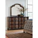 Liberty Furniture Tuscan Valley 6 Drawer Dresser and Mirror with Wood Frame - Item Number: 215-BR-DM