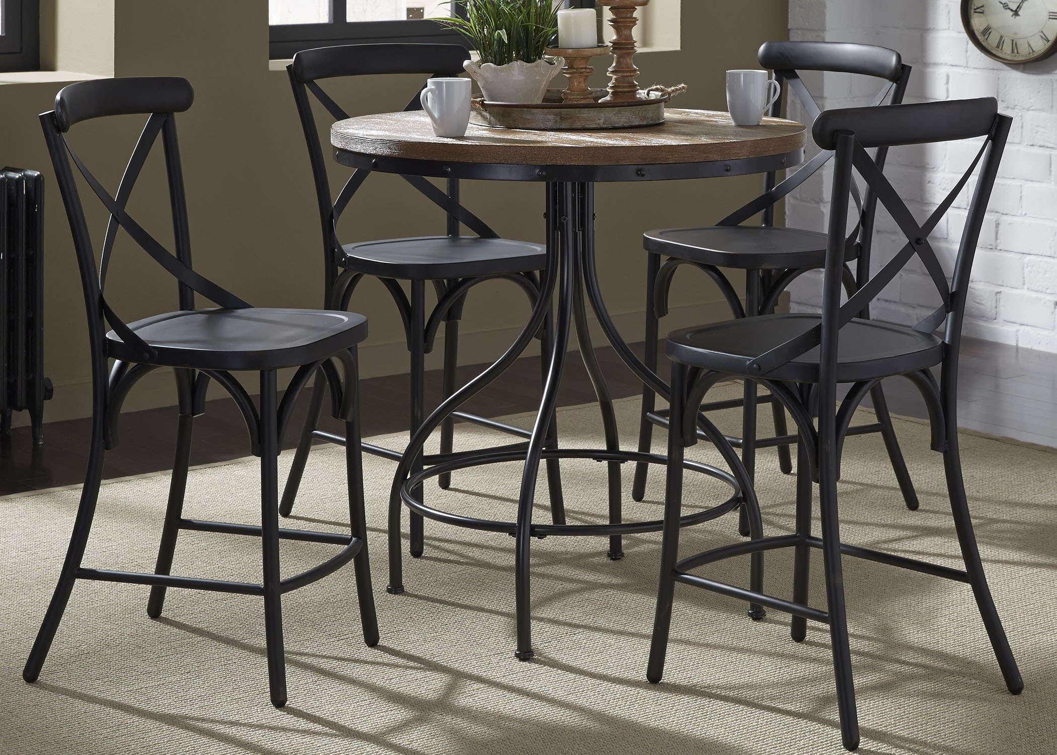 Liberty Furniture Vintage Dining Series 5-Piece Gathering Table and ...