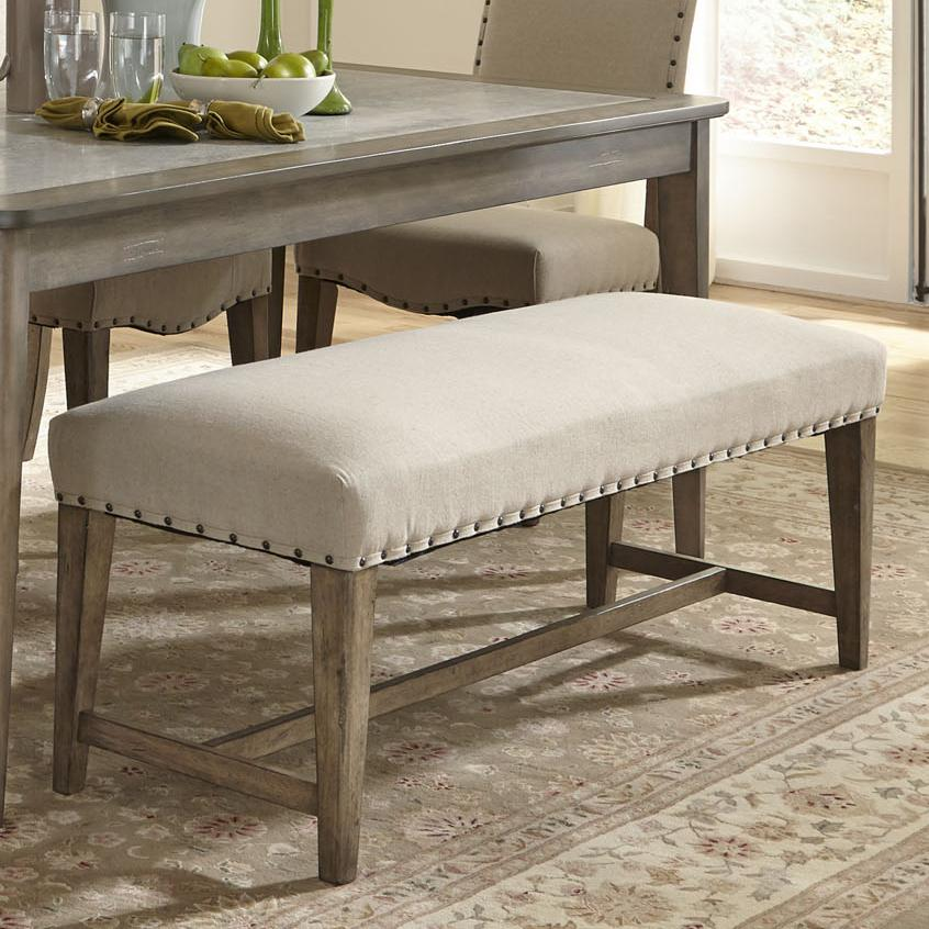 Rustic casual upholstered bench with nail head trim Padded bench seat