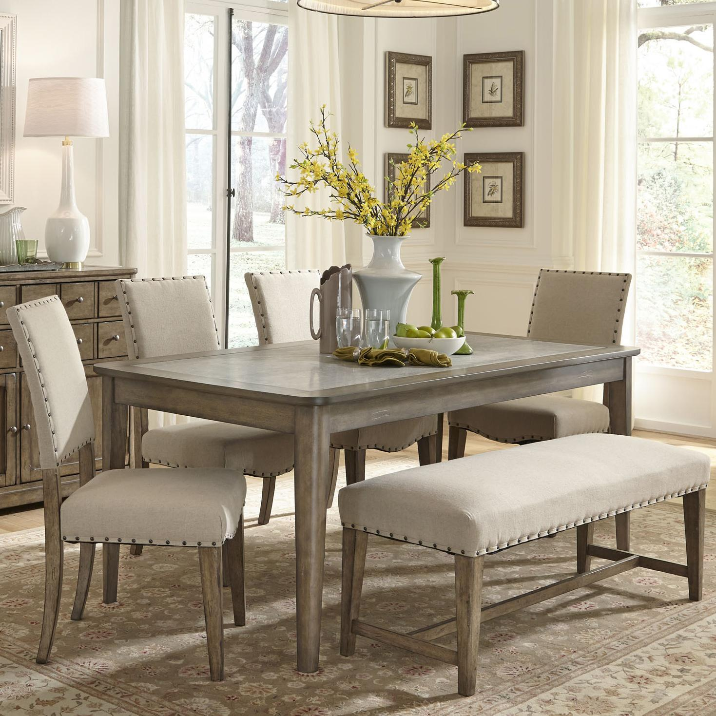 81faa05db245 Liberty Furniture Weatherford Rustic Casual 6 Piece Dining Table and ...
