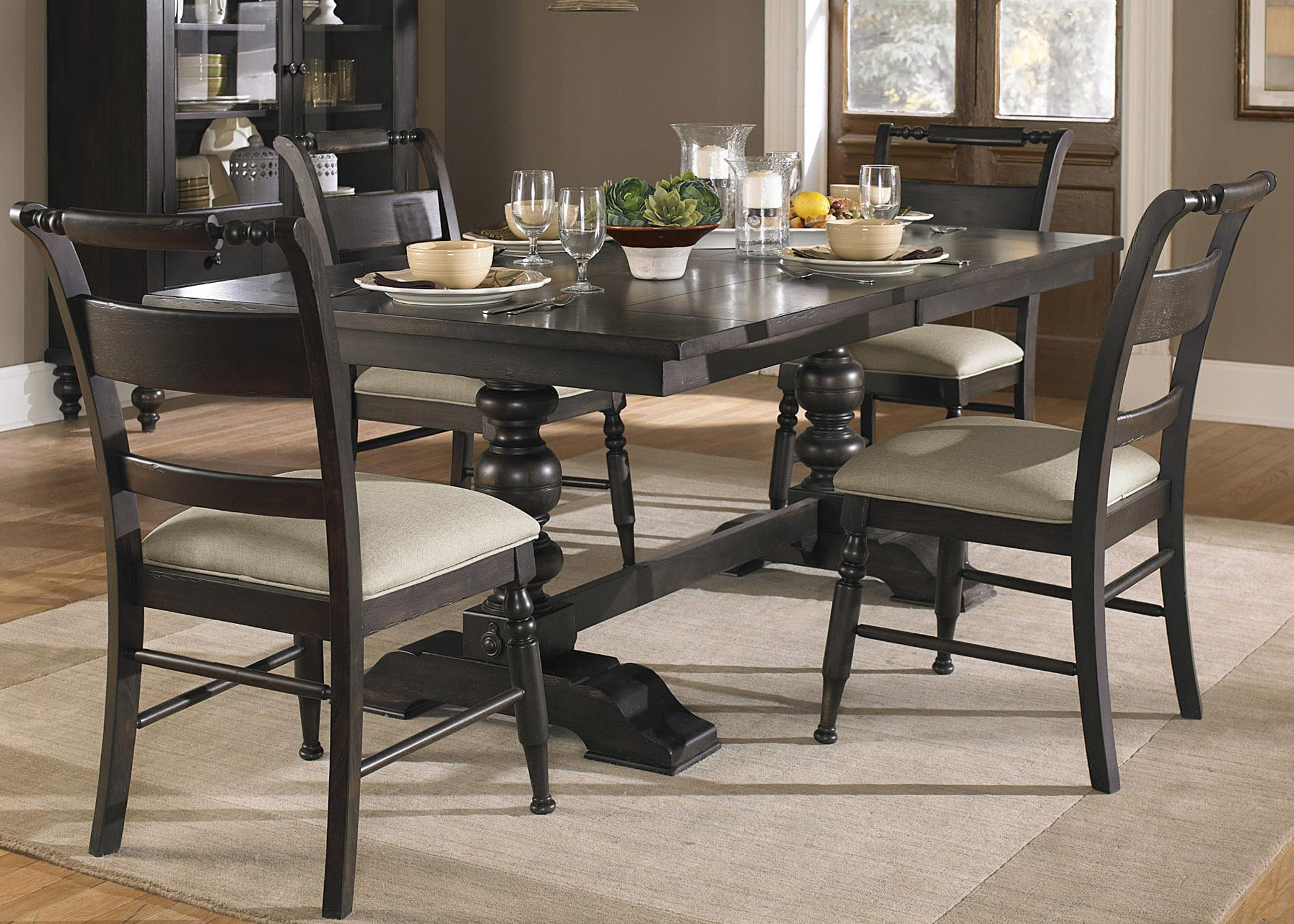 Whitney 5 Piece Trestle Table Set Rotmans Dining 5
