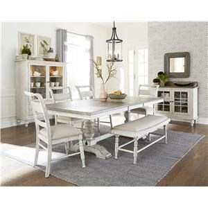 6 Piece Rectangular Table Set with Bench