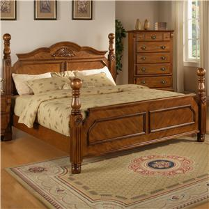 Lifestyle 0132A King Headboard Bed w/ Reeded Posts