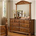 Lifestyle 0132A Dresser w/ 7 Drawers - Shown with Mirror