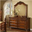 Lifestyle 0185 Traditional Cherry 8-Drawer Dresser & Landscape Mirror Set
